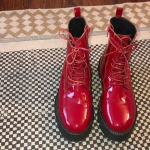Jeffery Campbell red patent boot
